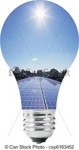 Solar Energy Lighting - light bulb with solar panels inside blue sky on top vector
