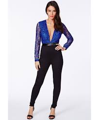 Leather And Lace Clothing Missguided Narelle Lace And Leather Contrast Jumpsuit In Cobalt