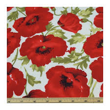Large Floral Print Curtains Large Red Poppy Floral Print On White Or Black 100 Cotton Fabric P