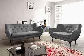 canape salon ensemble canapé fixe 3 2 places gris foncé en tissu style scandinave