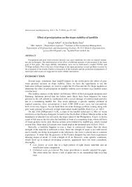 effect of precipitation on the slope stability of landfills pdf