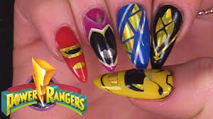 power rangers inspired nail art using gel polish youtube
