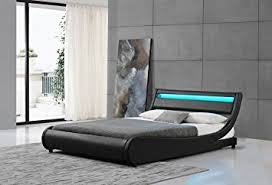 amazon com edison queen black contemporary led leather bed
