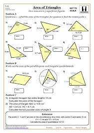 l10 area of triangles cazoom maths worksheets