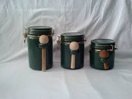 Ceramic Canisters For Kitchen by Dark Green Colored Ceramic Canisters With Spoons Ceramic Kitchen