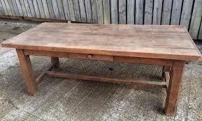 Antique Oak Rustic Hstretcher Farmhouse Table Vintage Table - Antique oak kitchen table