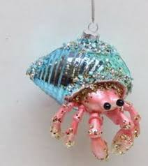 december diamonds blue shell hermit crab glass ornament