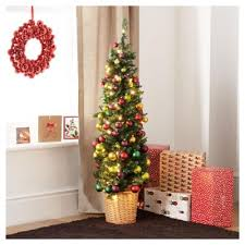 buy festive 4ft pencil christmas tree with traditional decorations