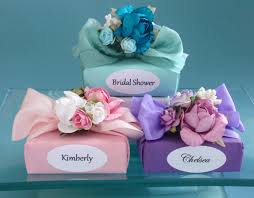 mini soap favor decorated with flowers
