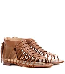polo ralph lauren jadine leather gladiator sandals cuoio brown