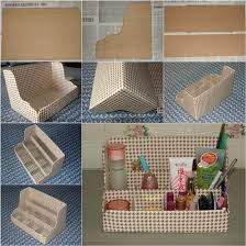 Desk Organizer Diy Diy Cardboard Desktop Organizer
