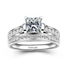 vancaro wedding rings 1 0 ct brilliant princess cut 925 sterling silver engagement