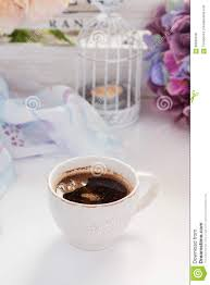 cup of coffee with shabby chic decorations stock photo image