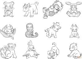 12 chinese zodiac animals coloring page free printable coloring