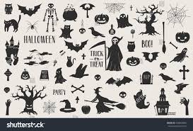 awesome set cut out scary halloween stock vector 496850065
