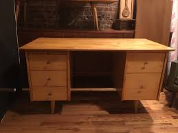 vintage mid century paul mccobb 5 drawer solid maple desk