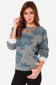obey seygrid sweater grey sweater floral sweater print