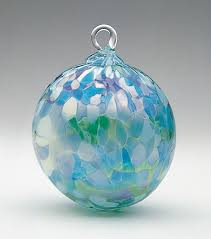 mt st helens volcanic ash blown glass ornament jade