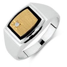 men s ring men s diamond set ring with black onyx in 10ct yellow gold