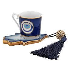 Porcelain Coffee Mugs Evil Eye And Hamsa Hand Designed Porcelain Turkish Coffee Set