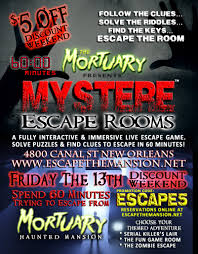 friday the 13th weekend special mystere escape rooms new