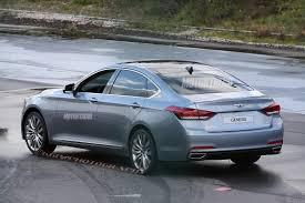 hyundai genesis back completely revealed 2015 hyundai genesis sedan spied motor