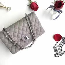authentic quality 1 1 mirror replica chanel classic flap bag grey