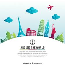 around the world background vector free