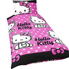girls hello kitty quilt duvet cover bedding set single bed pink