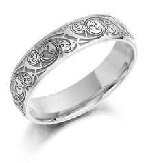 wedding rings ideas curved engraved white gold celtic wedding