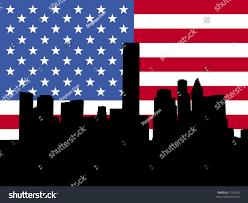 Flags Houston Houston Skyline American Flag Illustration Stock Vector 7195978