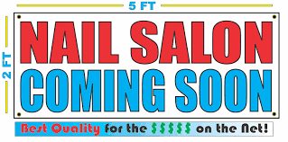 amazon com nail salon coming soon banner sign kitchen u0026 dining