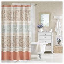 White Cotton Duck Shower Curtain Stella Floral Cotton Shower Curtain Target