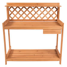 Free Wooden Potting Bench Plans by Potting Bench Outdoor Garden Work Bench Station Planting Solid