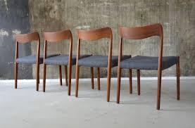 scandanavian chair set of 4 teak and grey fabric scandinavian chairs 1960s design
