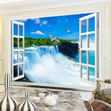 Wall Murals 3d Online Get Cheap Waterfalls Wall Mural Window Aliexpress Com