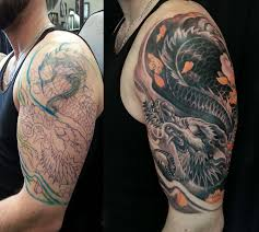 half sleeve black and grey colour dragon cover up tattoo jpg 3648