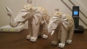 2 wooden elephant ornaments white and gold ebay