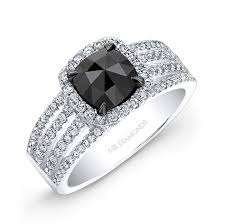 black engagement ring set white gold cut black center engagement ring bridal set