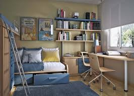stylish desk for two idea also wall mounted bookshelf and blue