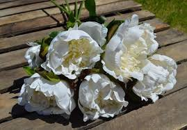 Faux Peonies Bunch Of 5 Off White Peonies Artificial Luxury Ivory Faux Peony