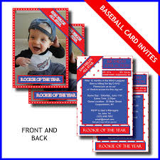 E Card Invites Lil Rookie Baseball Card Birthday Party Printable Invitations