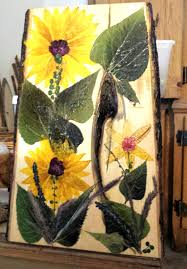 real petals real pressed mammoth sunflower petals and leaves on large basswood