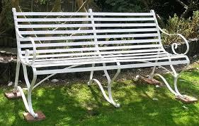 White Metal Outdoor Bench Iron Garden Bench For A Small Garden