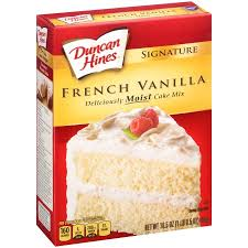 duncan hines signature french vanilla deliciously moist cake mix