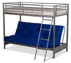 Bunk Futon Bed Futon Bunk Bed Complete With Mattresses In Silver Metal Finish