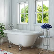 bathroom white paint wooden board with clawfoot tub also round