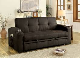 Pull Out Loveseat Mavis Transitional Style Brown Fabric Adjustable Sofa Futon W
