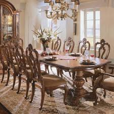 upholstered double pedestal dining set villa cortina dining room