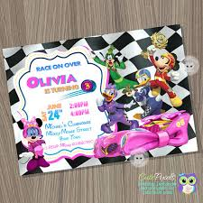 mickey mouse roadster racers invitation minnie mouse racers